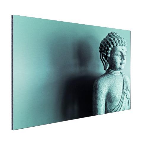 Boeddha beeld blauw fotoprint Aluminium