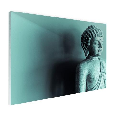Boeddha beeld blauw fotoprint Glas
