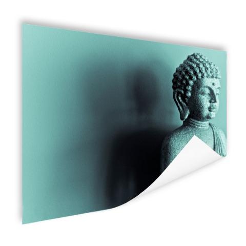 Boeddha beeld blauw fotoprint Poster