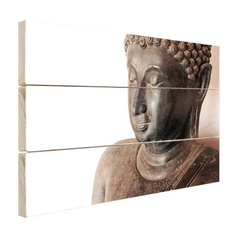 Boeddha hoofd van steen Hout