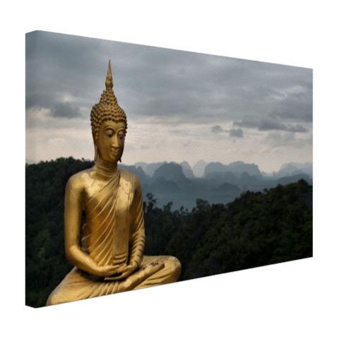 Boeddha met bewolkte lucht Canvas