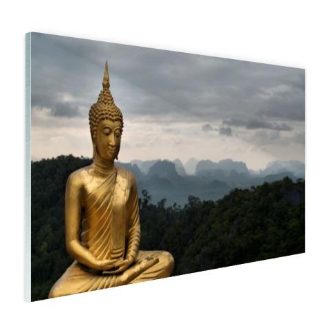 Boeddha met bewolkte lucht Glas