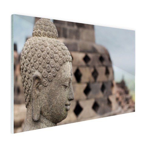 Boeddha standbeeld in Borobudur tempel Glas
