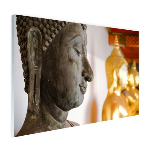 Boeddhahoofd in Wat Pho tempel Bangkok Glas