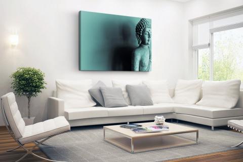 Boeddha beeld blauw fotoprint Canvas