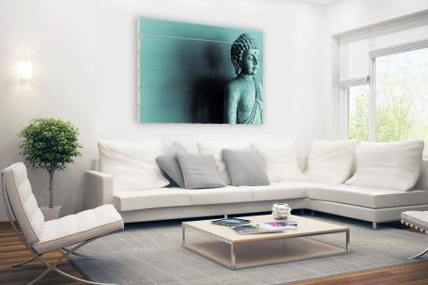 Boeddha beeld blauw fotoprint Hout