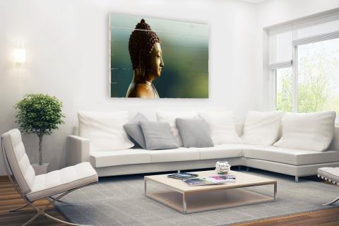 Boeddha beeld fotoprint Hout