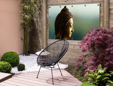 Boeddha beeld fotoprint Tuinposter