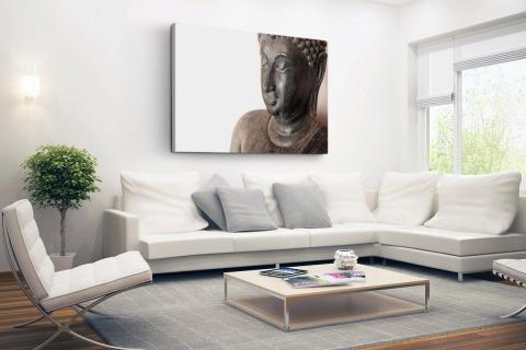 Boeddha hoofd van steen Canvas
