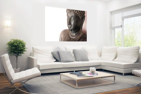 Boeddha hoofd van steen Poster