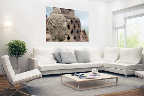 Boeddha standbeeld in Borobudur tempel Poster