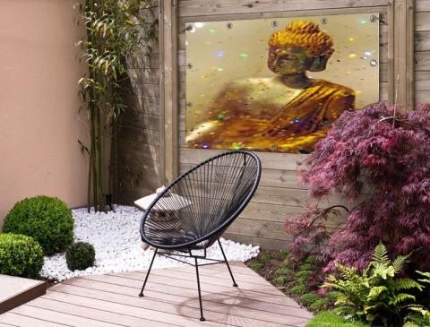 Glinsterende Boeddha Tuinposter