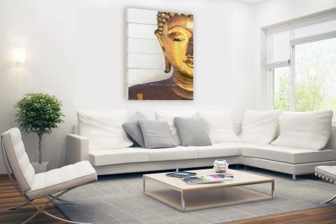Gouden Boeddha hoofd Hout