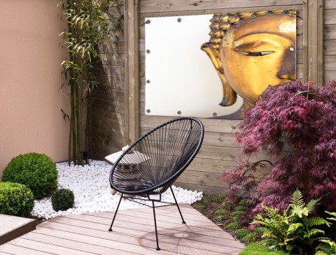 Gouden Boeddha hoofd Tuinposter