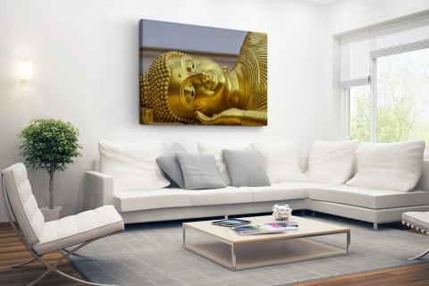 Liggende Boeddha van goud Canvas
