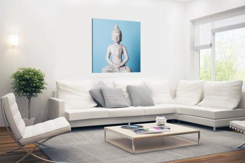 Witte Boeddha met blauwe achtergrond Canvas