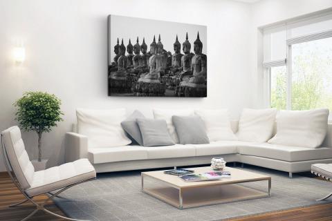 Zwart-wit foto van Boeddhas Canvas