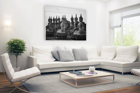 Zwart-wit foto van Boeddhas Hout
