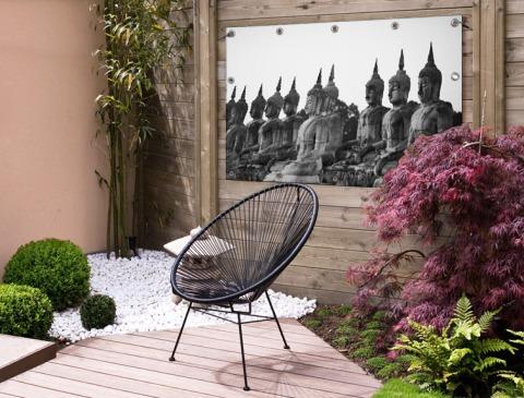 Zwart-wit foto van Boeddhas Tuinposter