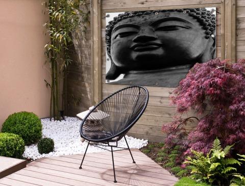 Zwart-wit van de Tian Tan Buddha Tuinposter