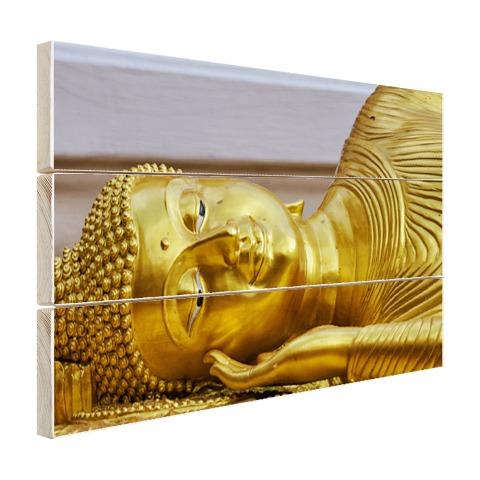 Liggende Boeddha van goud Hout