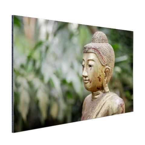 Oud Boeddha standbeeld in een tuin Aluminium