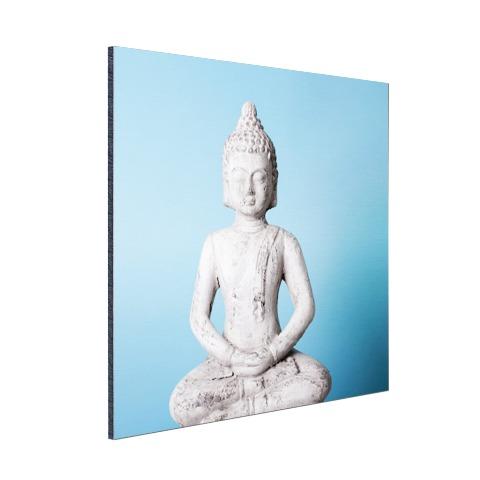 Witte Boeddha met blauwe achtergrond Aluminium