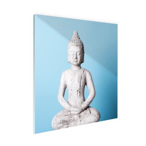 Witte Boeddha met blauwe achtergrond Glas