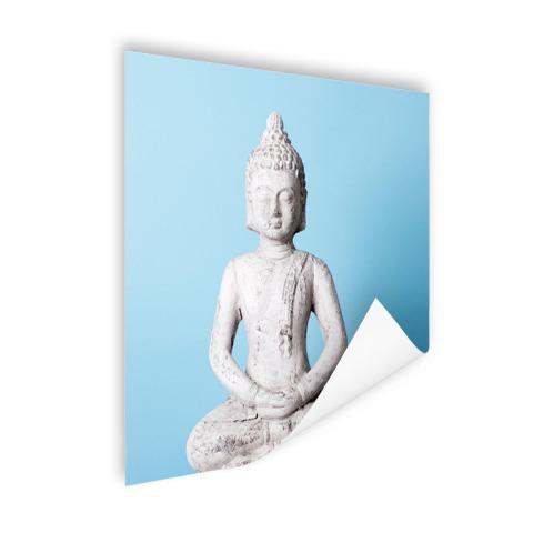 Witte Boeddha met blauwe achtergrond Poster