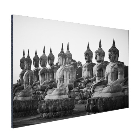 Zwart-wit foto van Boeddhas Aluminium