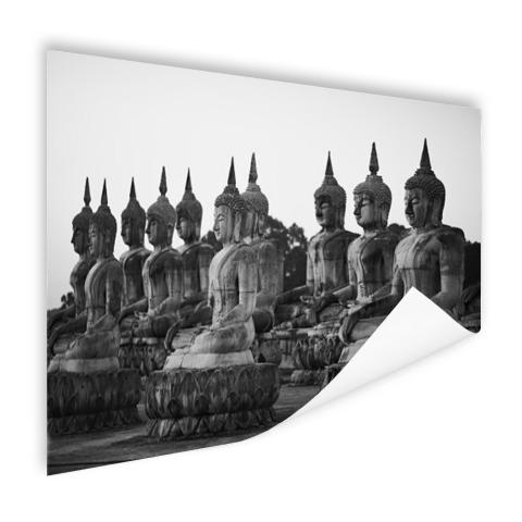 Zwart-wit foto van Boeddhas Poster