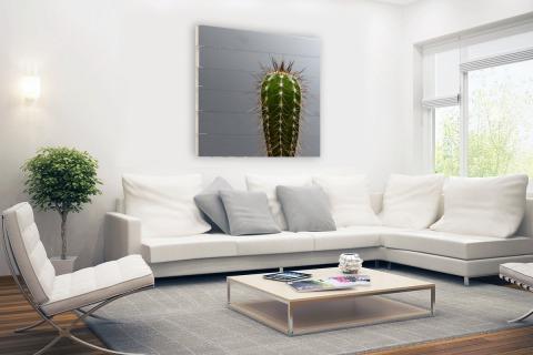 Cactus botanische print Hout