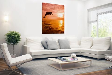 Twee dolfijnen bij zonsondergang foto Canvas
