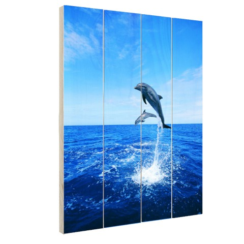 Dolfijn in blauw water Hout
