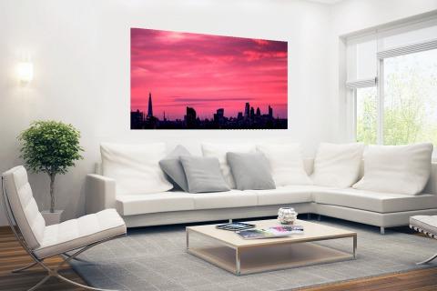 Londen skyline bij zonsondergang Poster