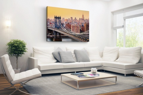 Skyline New York in de avond Canvas