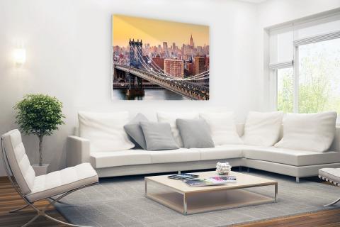 Skyline New York in de avond Glas
