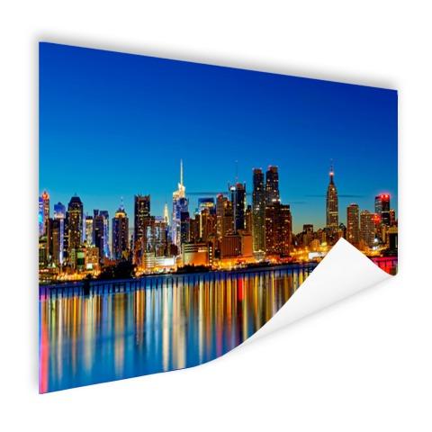 Skyline New York by night wanddecoratie