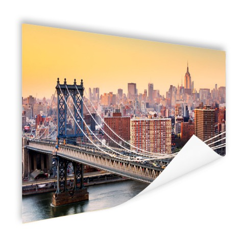 Skyline new York in de avond foto print