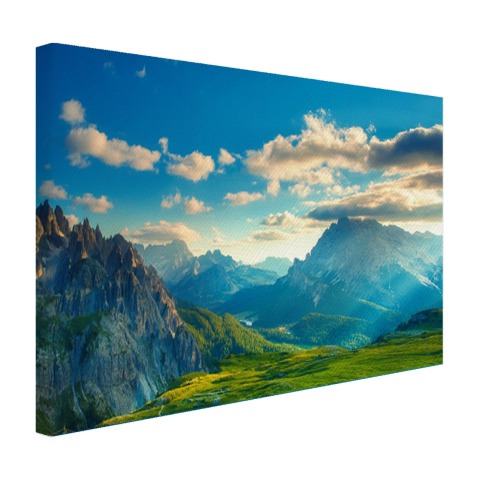 Zonsondergang in de Alpen op canvas