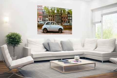Oude auto in Amsterdam Poster