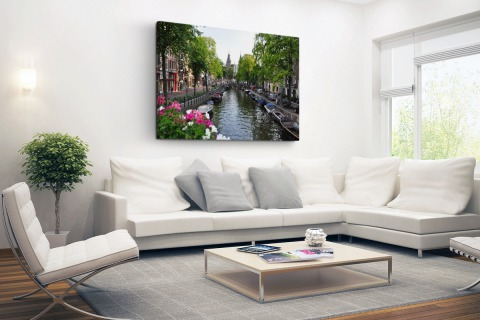 Zomerse gracht in Amsterdam Canvas