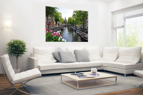 Zomerse gracht in Amsterdam Poster