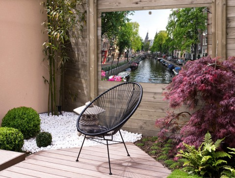 Zomerse gracht in Amsterdam Tuinposter