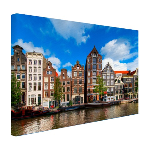 Amsterdamse gracht op canvas