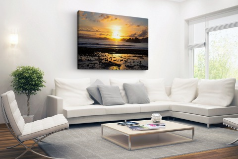 Zonsondergang in Azie fotoprint Canvas