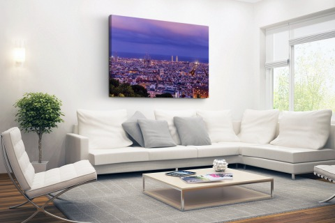 Barcelona skyline bij schemering Canvas