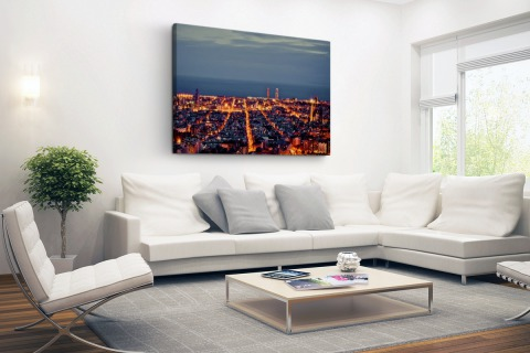 Barcelona skyline in de avond Canvas