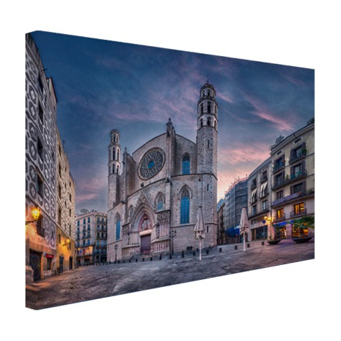 De kerk Santa Maria del Mar in Barcelona op canvas
