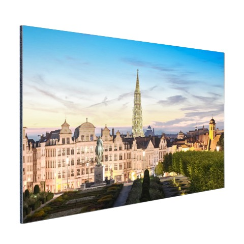 Brussel skyline in schemering wanddecoratie